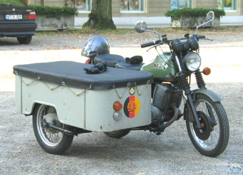 motorcycle 74 mz etz with original freight sidecar. Black Bedroom Furniture Sets. Home Design Ideas